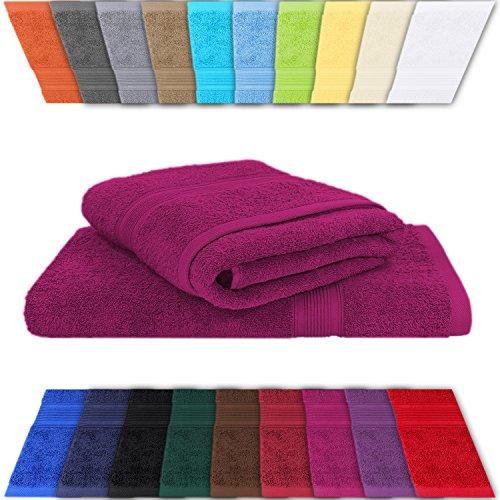 51TrCU+VPqL - 2er Set Frottee Saunahandtücher Saunatücher Strandtücher in vielen Farben erhältlich - 100% Baumwolle 500 gr/m² pink 80 x 200 cm